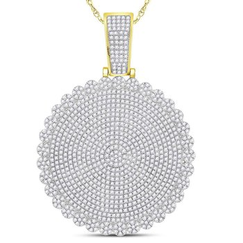10kt Yellow Gold Mens Round Diamond Circle Cluster Charm Pendant 2-3/4 Cttw