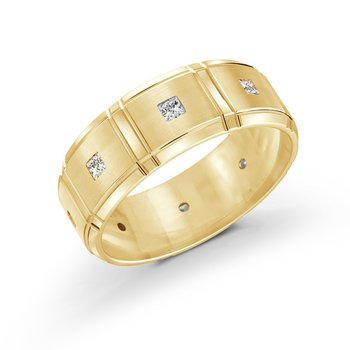 8mm all yellow gold brick motif band, embelished with 8X0.05CT diamonds