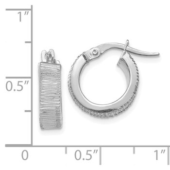Leslie's 14K White Gold Textured Hoop Earrings