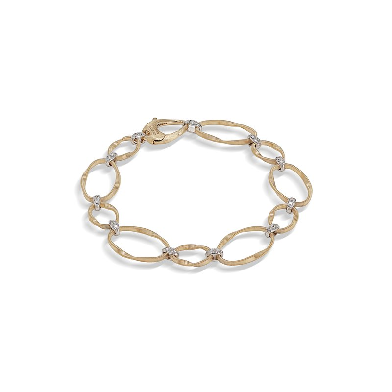 Marco Bicego Marrakech Onde Collection 18K Yellow Gold and Diamond Flat Link Bracelet