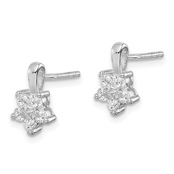 Sterling Silver Rhodium Plated CZ Star Post Earrings