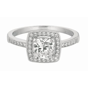 Silver Cushion CZ with Halo Ring