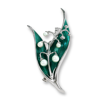 Sterling Silver Lily of the Valley Brooch-Green. Pearls.