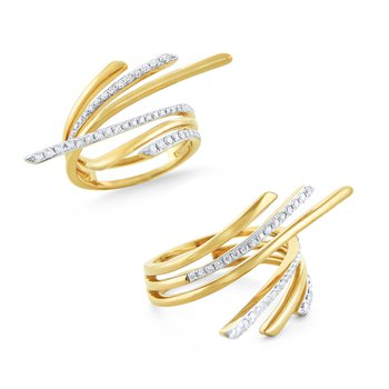 Diamond Flared Wrap Ring Set in 14 Kt. Gold