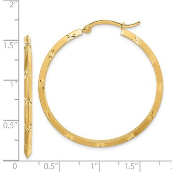 14K Polished Diamond-Cut Hoop Earrings