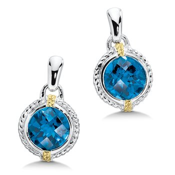 Sterling Silver & 18K Gold & London Blue Topaz Earrings