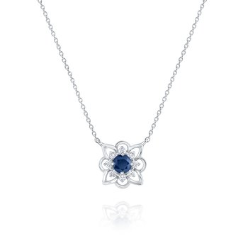 Blue Sapphire & Diamond Arabesque Pendant Necklace Set in 14 Kt. Gold