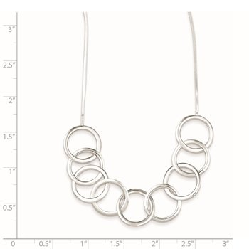 Sterling Silver Polished Circle w/ 2in ext. Necklace