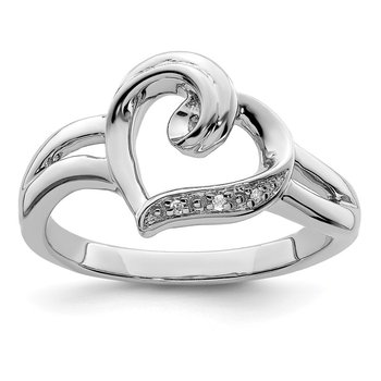 Sterling Silver Rhodium Diam. Heart Ring