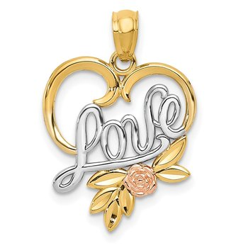 14k Yellow and Rose w/Rhodium Diamond-cut LOVE in Heart w/Rose Pendant