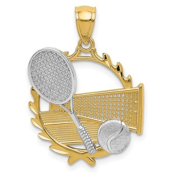 14K Yellow w/Rhodium Tennis Pendant