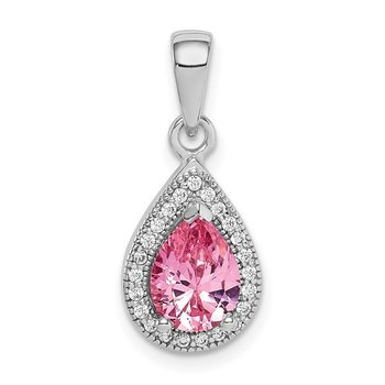 Sterling Silver Rhodium Plated Pink and Clear CZ Pendant