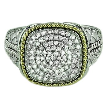 18kt and Sterling Silver Large Cushion Pave Diamond Ring