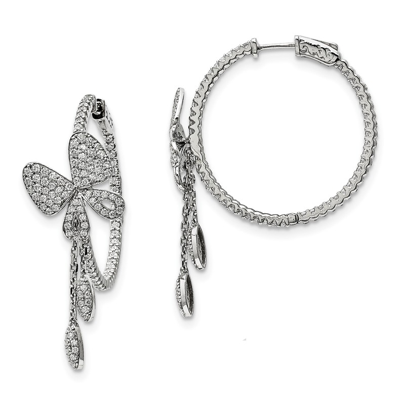 Brilliant Embers 925 Sterling Silver Rhodium-plated Polished CZ Arrow Hoop Post Earrings