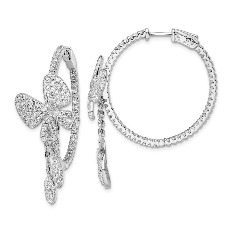 Quality Gold Sterling Silver Rhodium-plated CZ In & Out Round Butterfly Hoop Earrings