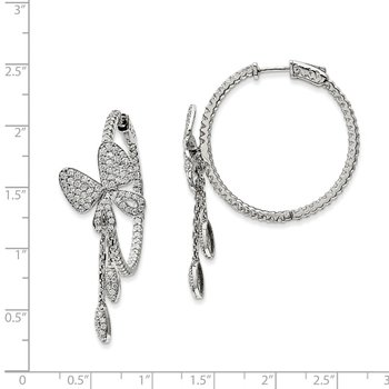 Sterling Silver Rhodium-plated CZ In & Out Round Butterfly Hoop Earrings