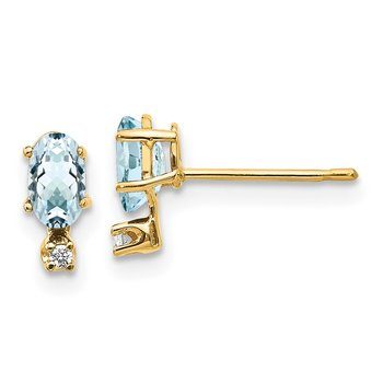 14k Diamond & Aquamarine Birthstone Earrings