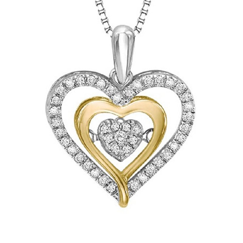 Necker's Signature Collection Silver & 10KY Gold Diamond Rhythm Of Love Pendant 1/5 ctw