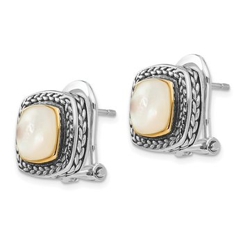 Sterling Silver w/14k Mother of Pearl Earrings