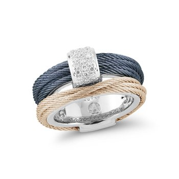 Blueberry & Carnation Cable Small Simple Stack Ring with 18kt White Gold & Diamonds