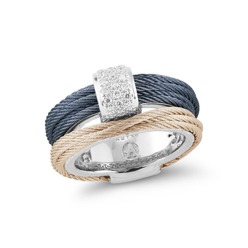 ALOR Blueberry & Carnation Cable Small Simple Stack Ring with 18kt White Gold & Diamonds