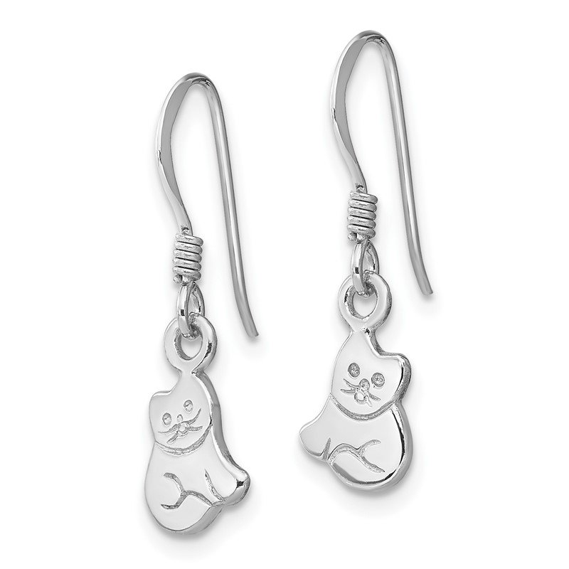 Quality Gold Sterling Silver RH Plated Child's Polished Cat Dangle Earrings