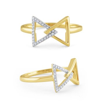 14K Gold and Diamond Bowtie Ring