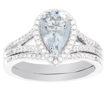 14k White Gold Pear-shaped Aquamarine 1/4ct Diamond Bridal Set