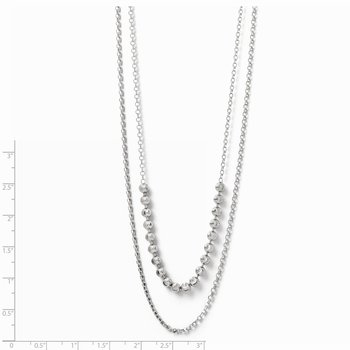 Leslie's SS D/C Two Layer w/2 ext. Beaded Necklace
