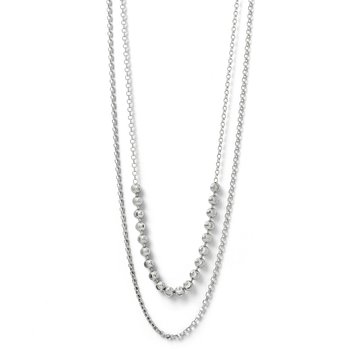 Leslie's SS Diamond-cut Two Layer w/ 2 ext. Beaded Necklace