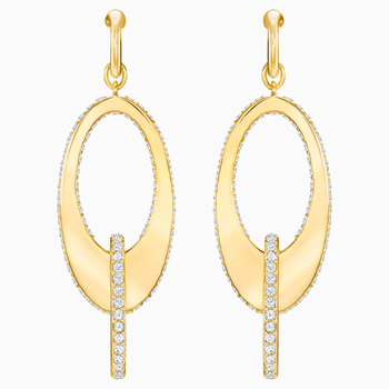 Lakeside Hoop Pierced Earrings, White, Gold-tone plated