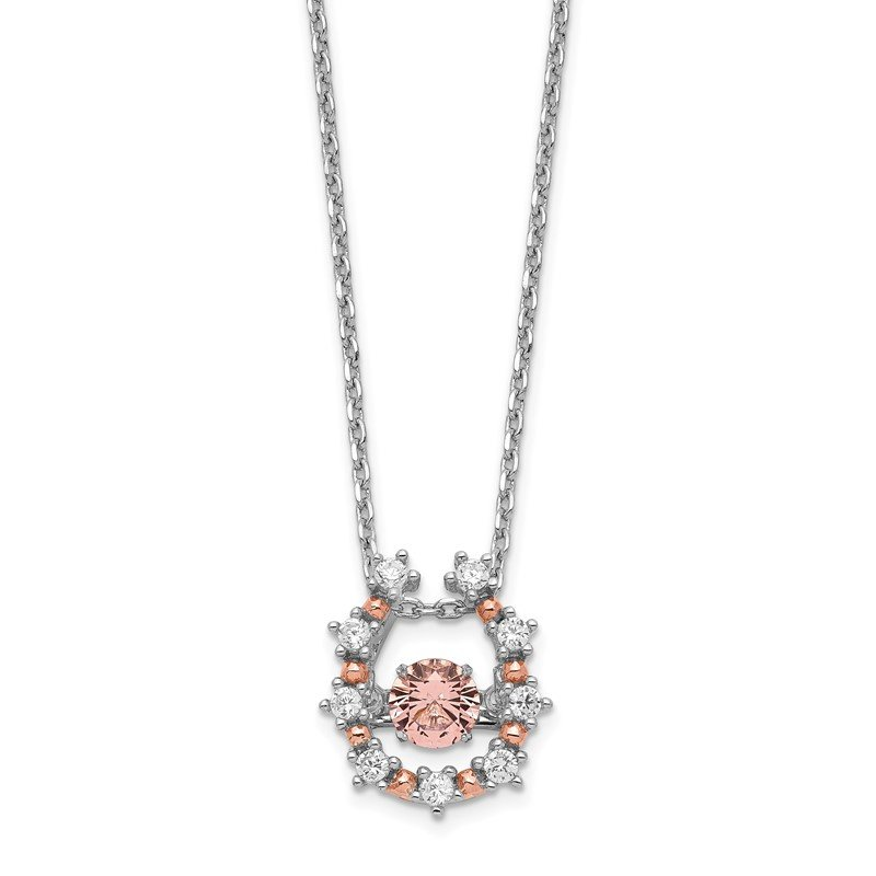 Quality Gold Sterling Silver Rhod-plated & Rose-tone Vibrant Pink CZ w/2in Ext.Necklace