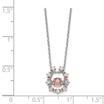Sterling Silver Rhod-plated & Rose-tone Vibrant Pink CZ w/2in Ext.Necklace