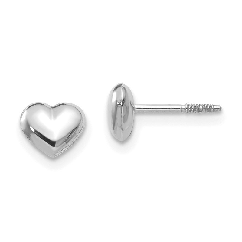 Quality Gold 14k Madi K White Gold Puff Heart Post Earrings