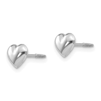 14k Madi K White Gold Puff Heart Post Earrings