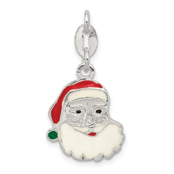 Sterling Silver Polished Enamel Santa Charm