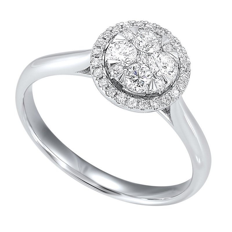 Calvin Broyles Diamond Halo Round Cluster Ring in 14k White Gold (1/4 ctw)