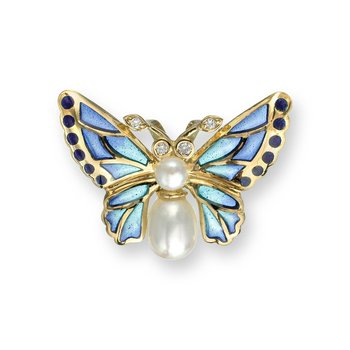 Blue Butterfly Pendant.18K -Diamond and Freshwater Pearl - Plique-a-Jour