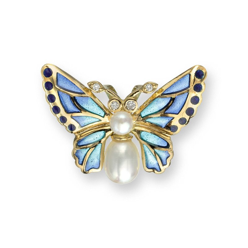 Nicole Barr Designs Blue Butterfly Pendant.18K -Diamond and Freshwater Pearl - Plique-a-Jour
