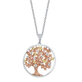 Maple Leaf Diamonds™ Autumn Oak Tree Medallion Pendant