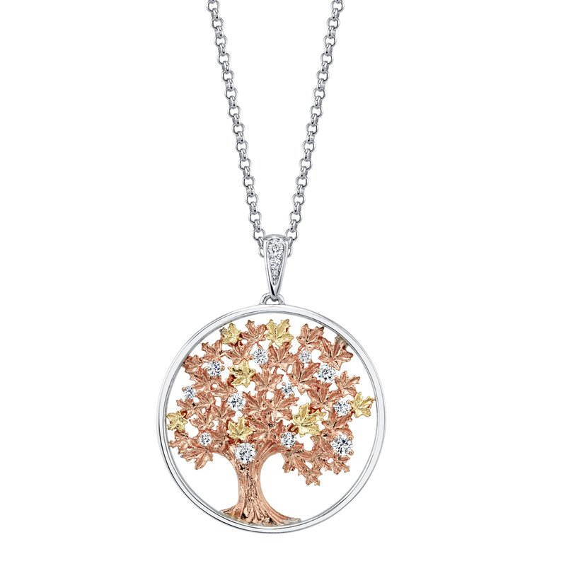 Timeless Beauty Maple Leaf Diamonds™ Autumn Oak Tree Medallion Pendant