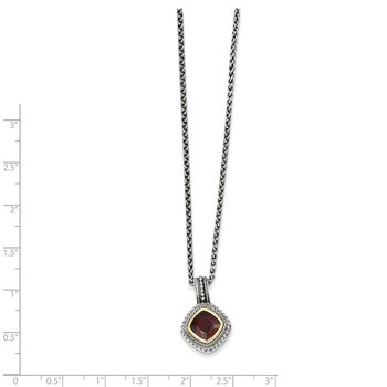 Sterling Silver w/14k Garnet Necklace