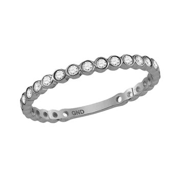 10kt White Gold Womens Round Diamond Stackable Band Ring 1/5 Cttw