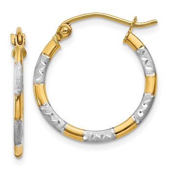 14K w/White Rhodium Diamond Cut Hoop Earrings