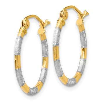 14K & Rhodium Diamond Cut Hoop Earrings
