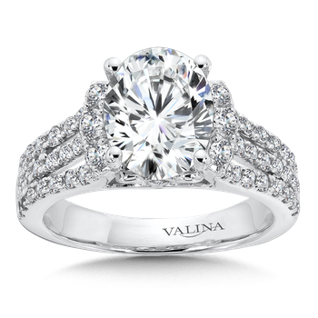 Engagement Ring with Oval Shape Center and Split Shank With Side Stones in 14K White Gold (0.75 ct. tw.)