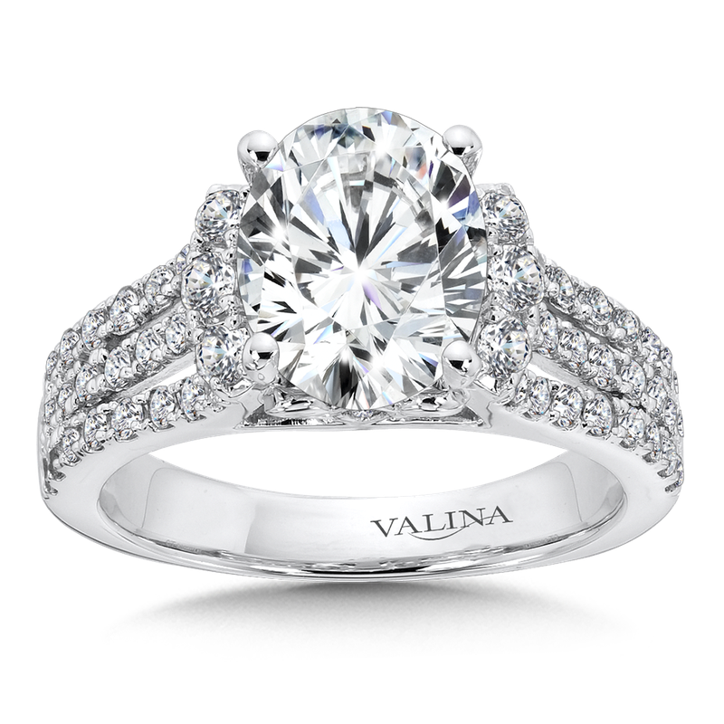Valina Engagement Ring with Oval Shape Center and Split Shank With Side Stones in 14K White Gold (0.75 ct. tw.)