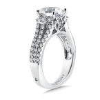 Valina Bridals Engagement Ring with Oval Shape Center and Split Shank With Side Stones in 14K White Gold (0.75 ct. tw.)