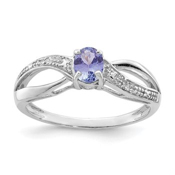 Sterling Silver Rhodium Plated Diamond and Tanzanite Ring