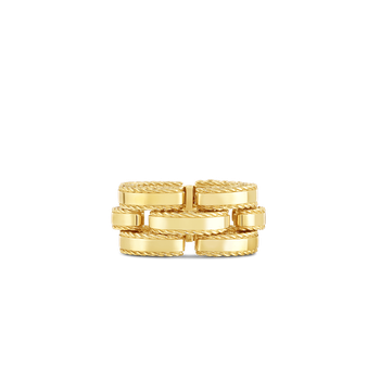 18Kt Gold Retro Link Ring